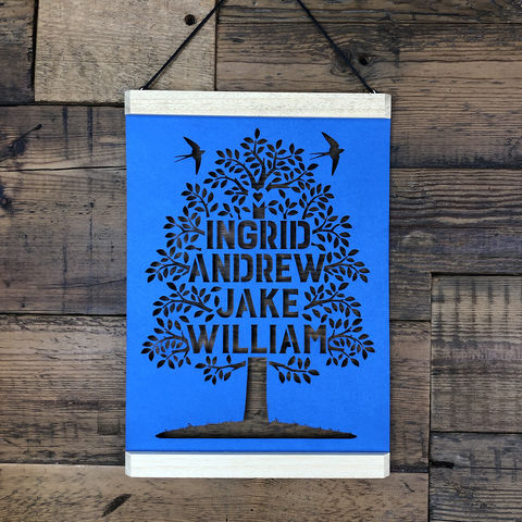 Family,Tree,Papercut,A4,personalised, family tree, oak tree, family motto, Kyleigh's Papercuts, poster hanger