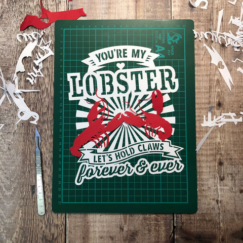 'You're,My,Lobster',Papercut,Template,PDF,you are my lobster, pdf, download, papercut, template, cut it yourself, isolation, craft, papercutting
