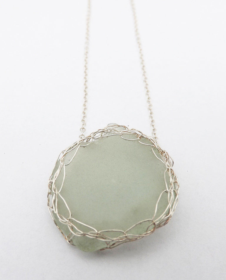 silver crochet sea-glass pendant - product images  of