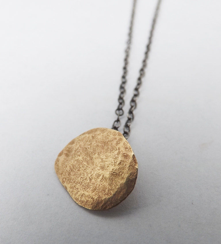 9ct gold hammered gold pebble pendant  - product image