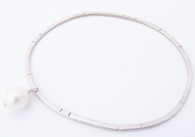 eco-silver bead charm bangle - product image