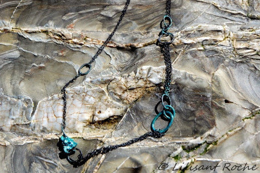 long enamelled oxidised silver chain - product image