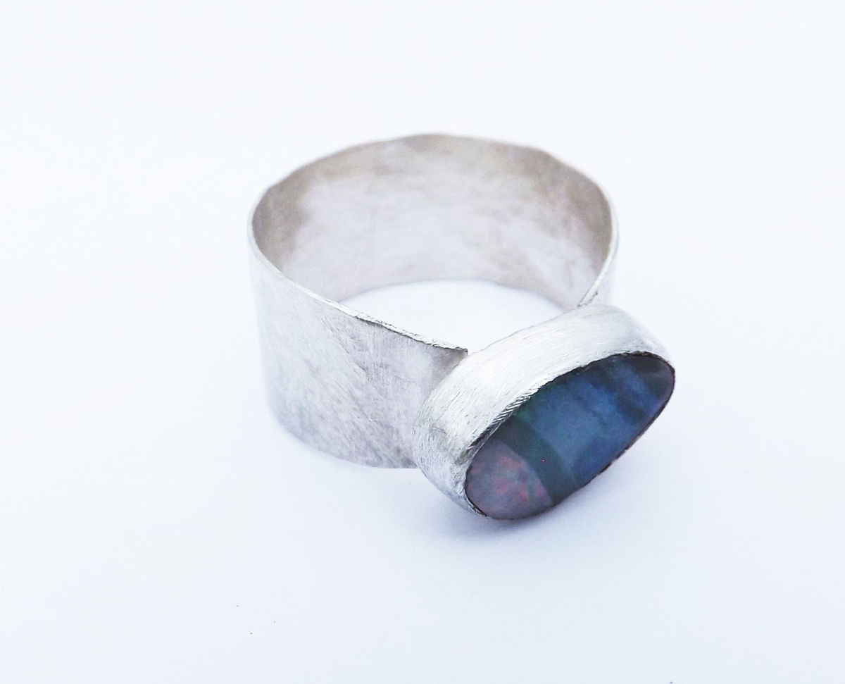boulder opal wide silver ring - product image