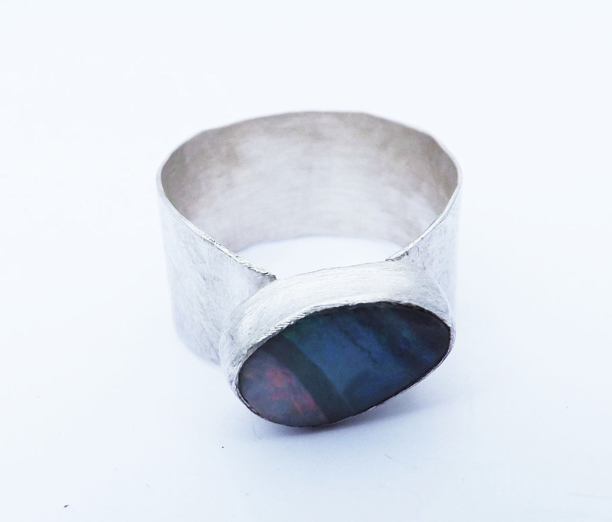 boulder opal wide silver ring - product images  of