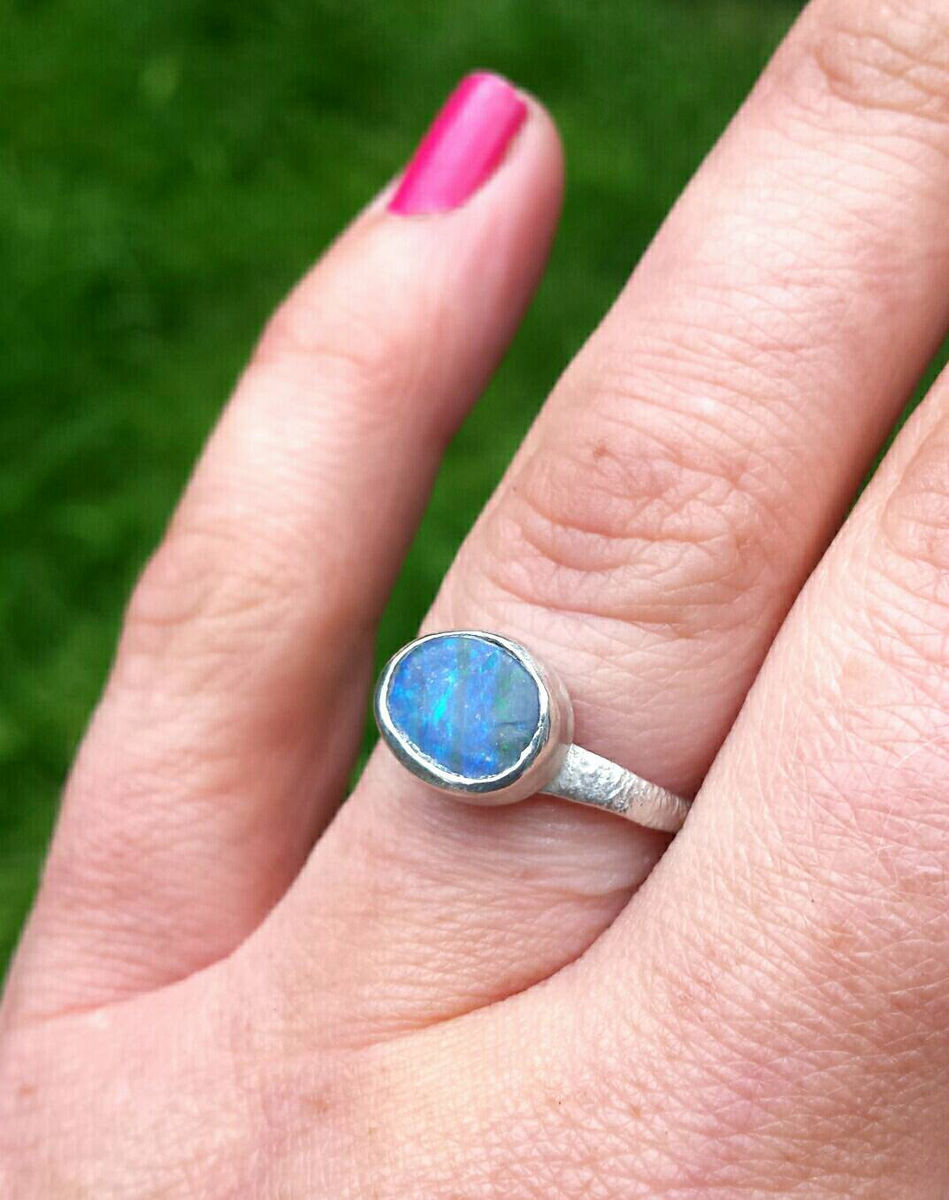 boulder opal silver ring - product images  of