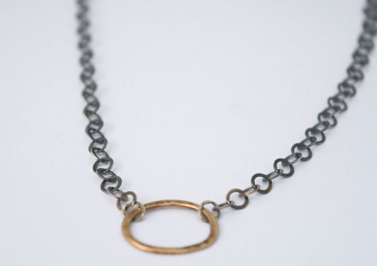 9ct gold and oxidised silver chain - product images  of