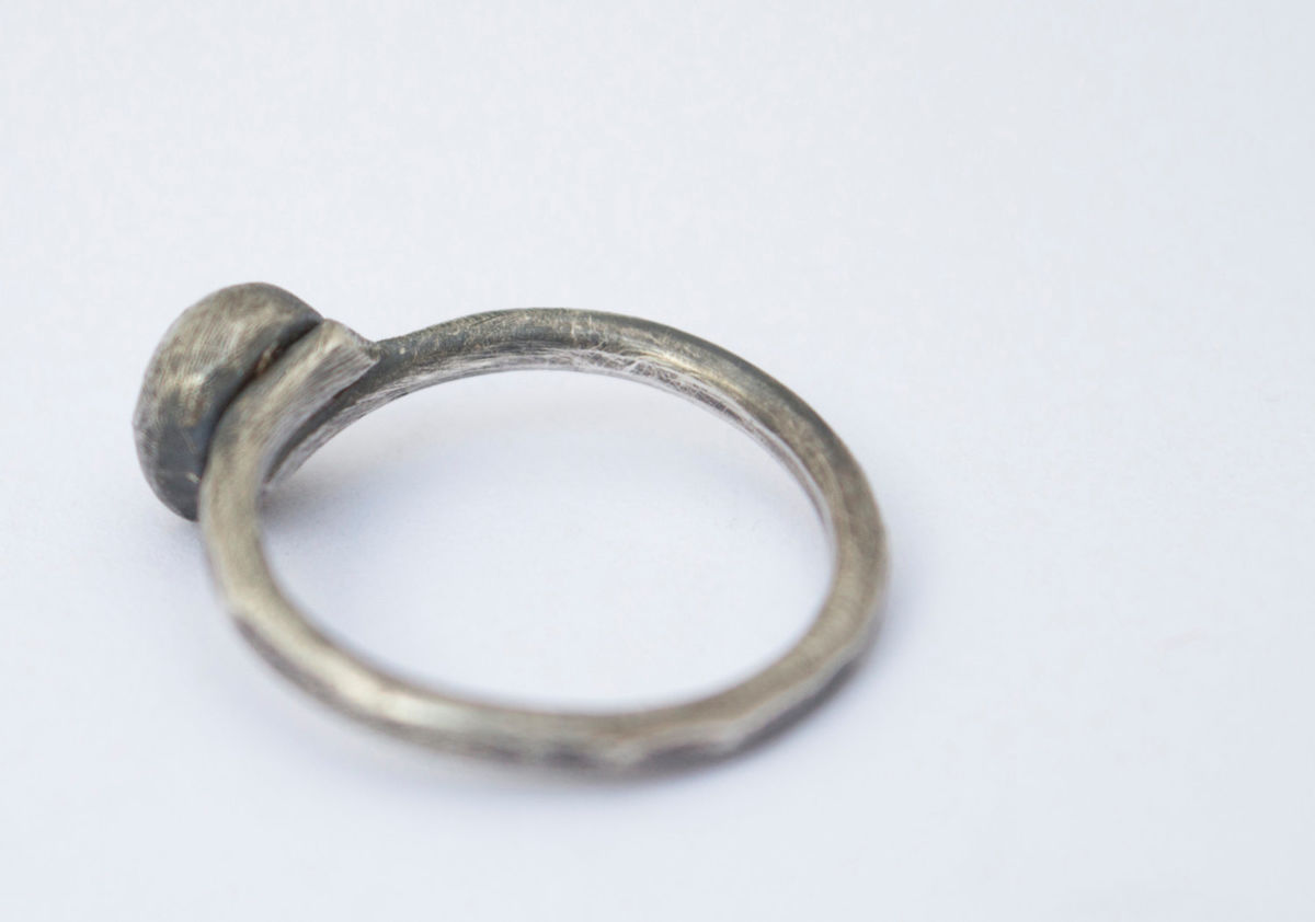 silver ring/sterling silver ring/eco-silver ring/fused Moon ring - product images  of