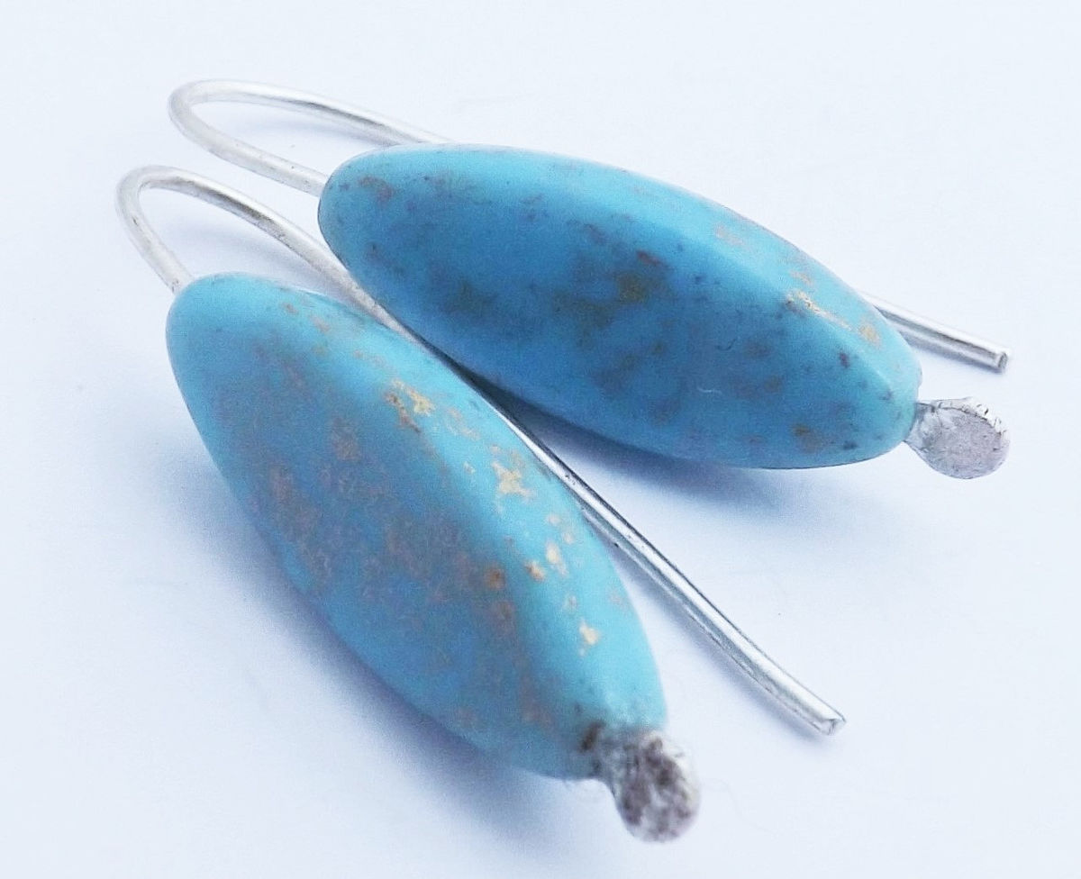 long turquoise glass earrings - product image