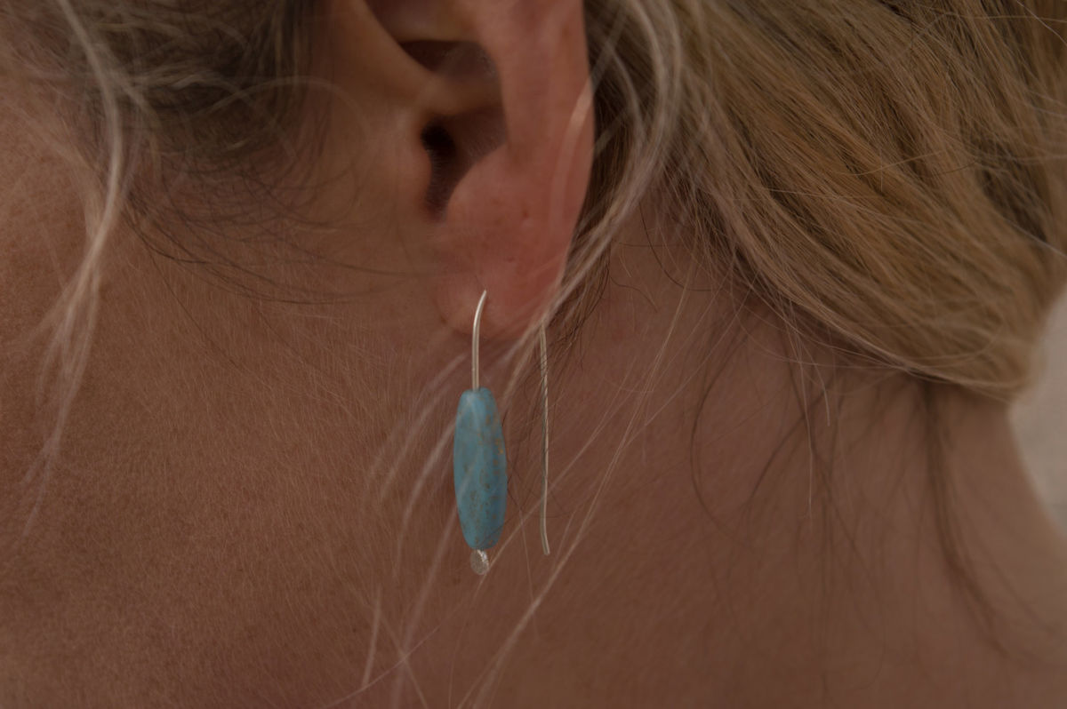 long turquoise glass earrings - product images  of