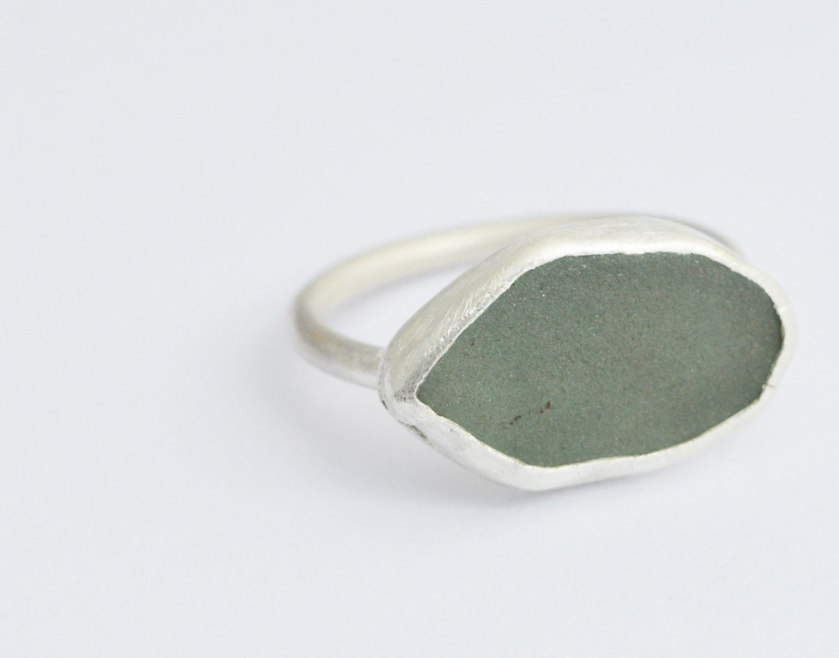 sea-glass eco-silver ring - product image