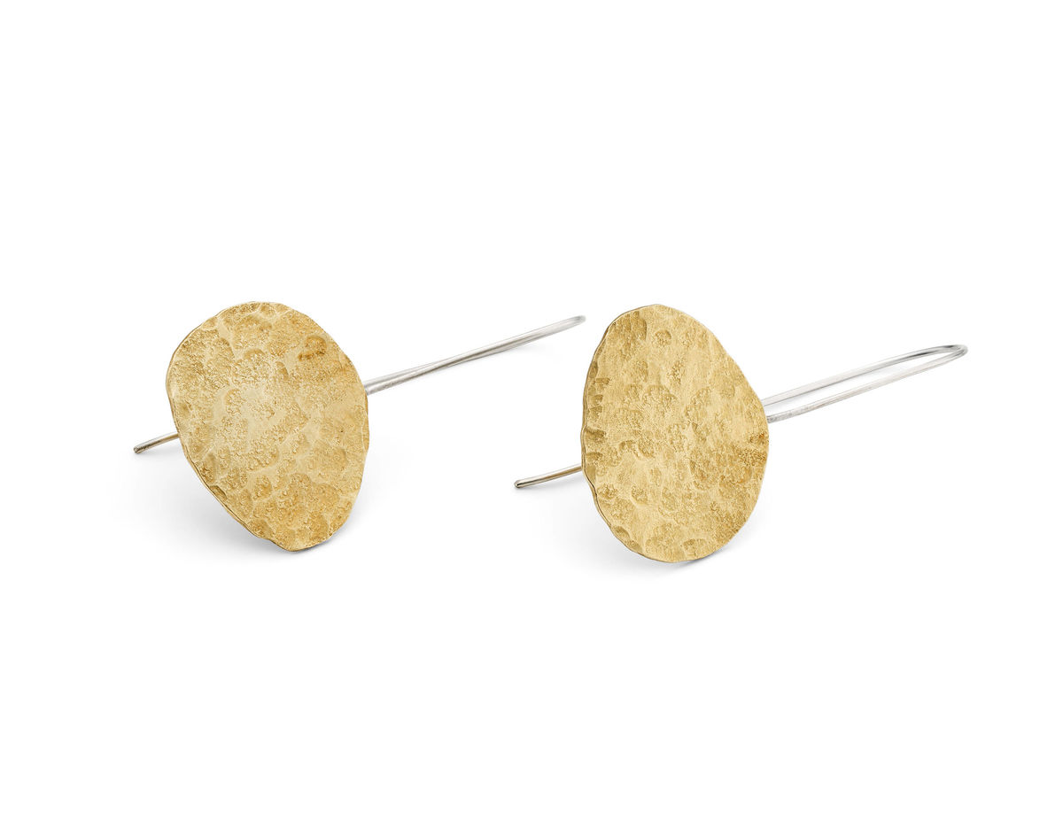 large brass pebble earrings - product images  of