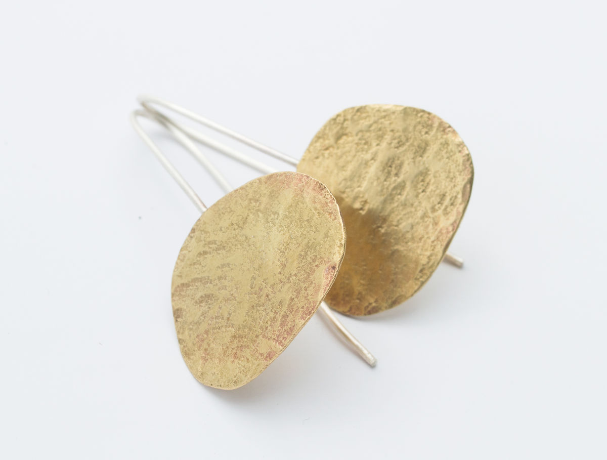 brass pebble earrings - product images  of