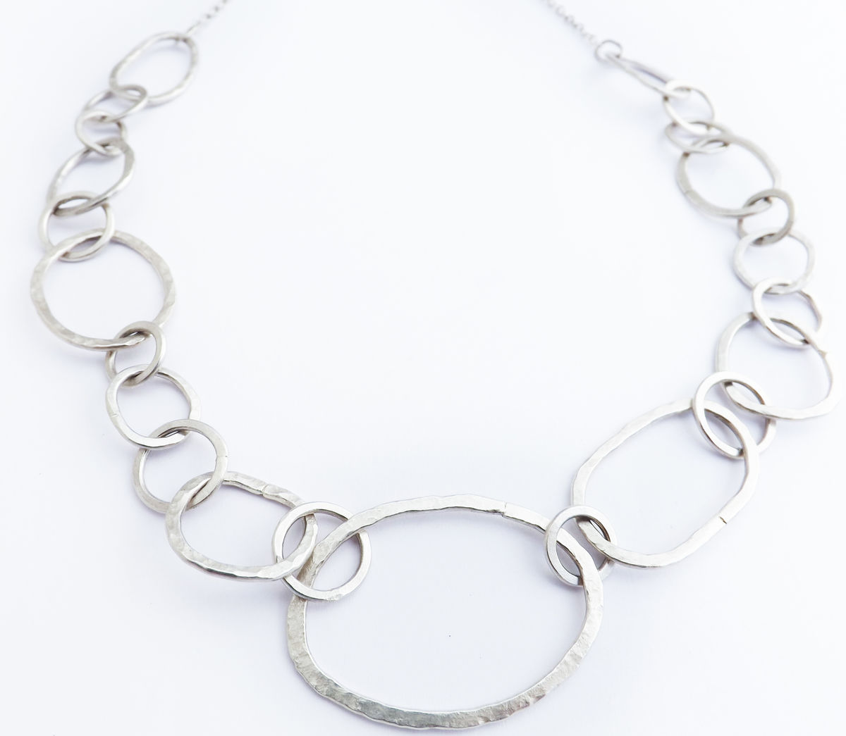 handmade hammered silver chain necklace - product image