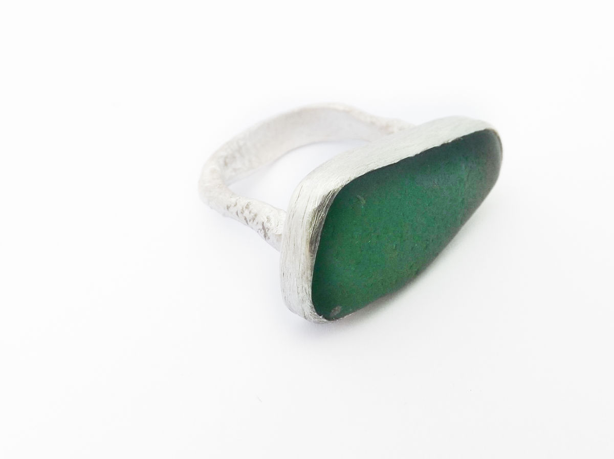 sea-glass eco-silver ring - product images  of