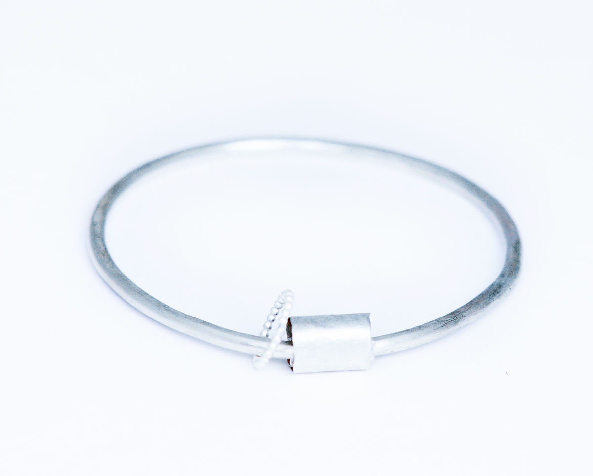 hammered silver or gold bangle - product images  of