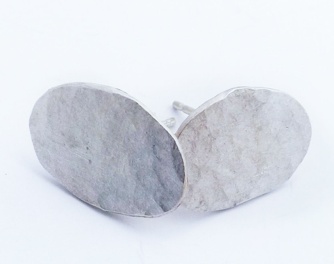 eco-silver pebble studs - product image