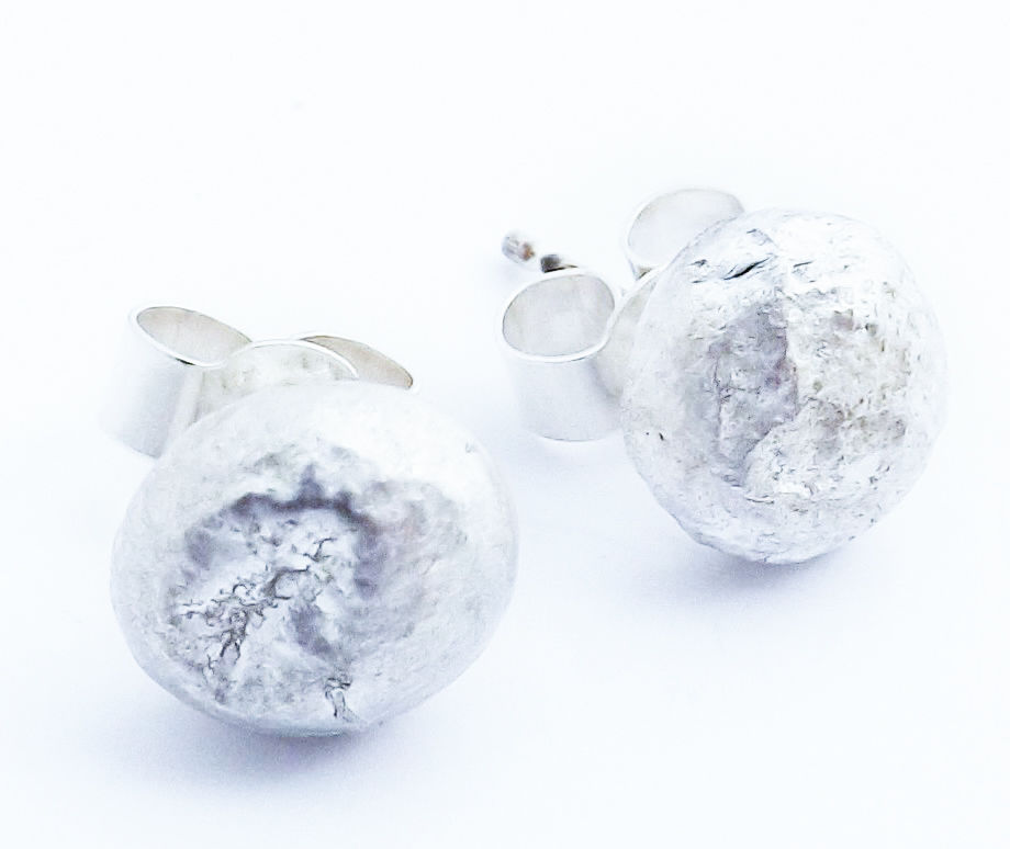 silver fused moon studs - product image