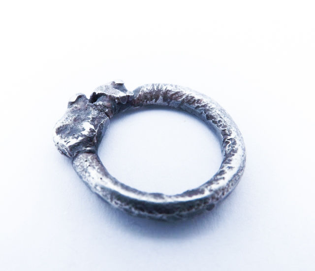 fused oxidised silver ring - product image