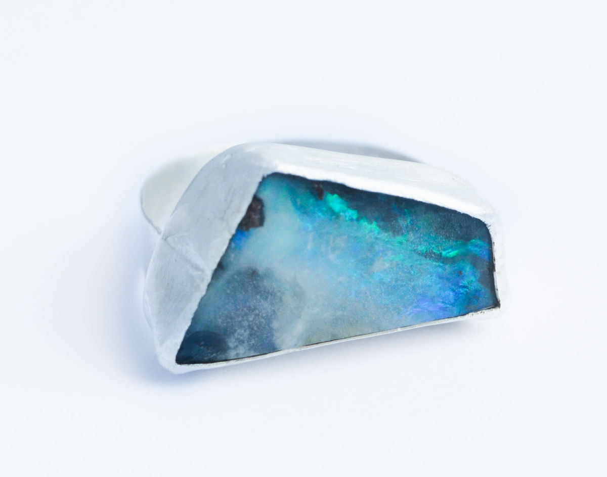 boulder opal angular ring - product image