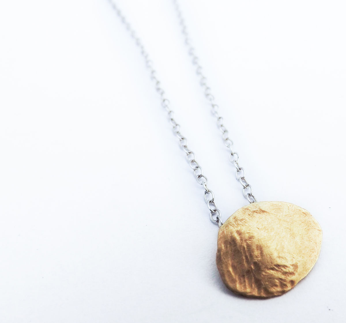 9ct gold hammered gold pebble pendant  - product images  of