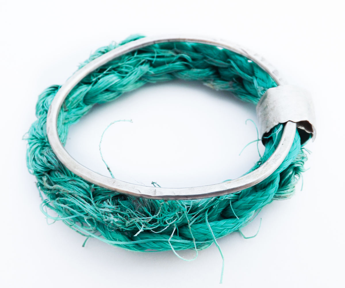 recycled silver and sea-string bangle - product image