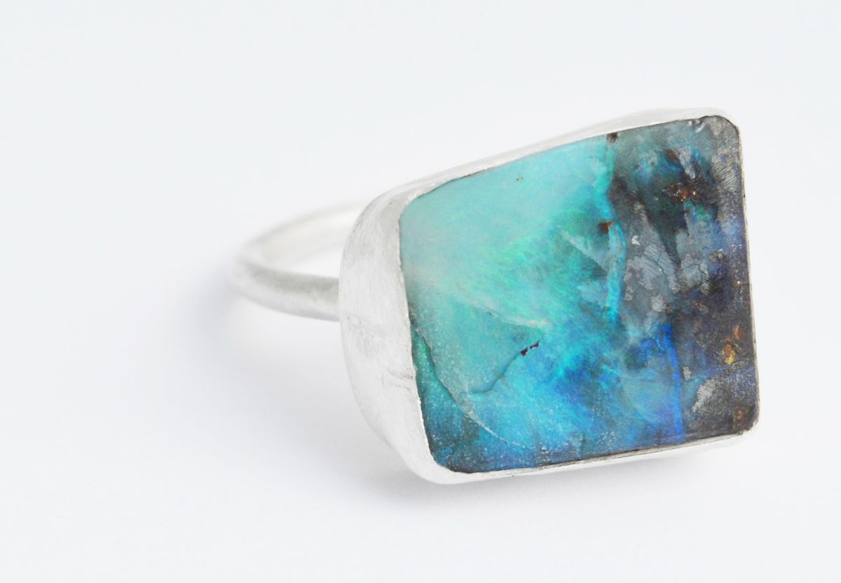 large boulder opal ring - product image