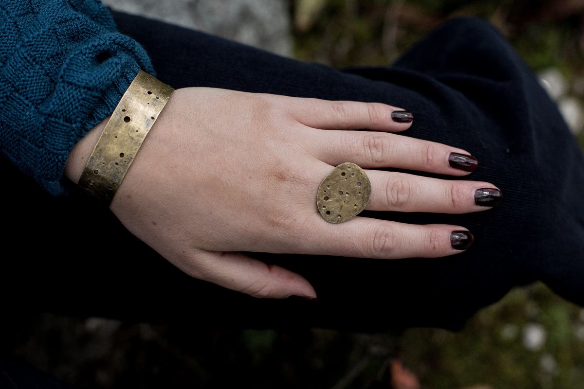large brass eroded pebble ring - product images  of