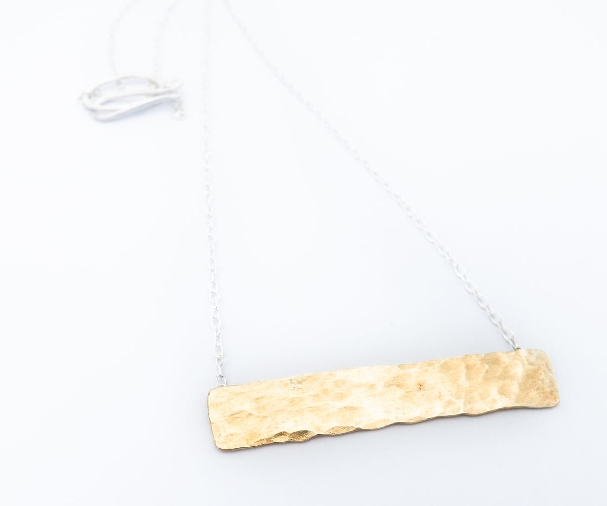 Brass horizontal shard necklace - product images  of