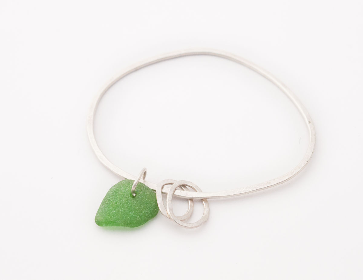 Oval charm eco-silver bangle - product images  of