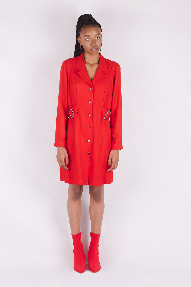 Red Faux Belt Dress - product images  of