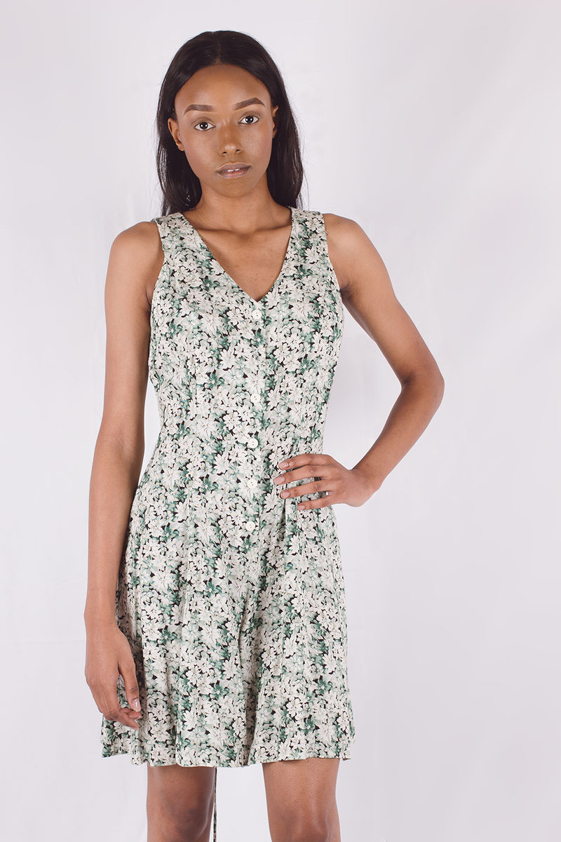 Sleeveless Lace-Up Floral Romper - product images  of