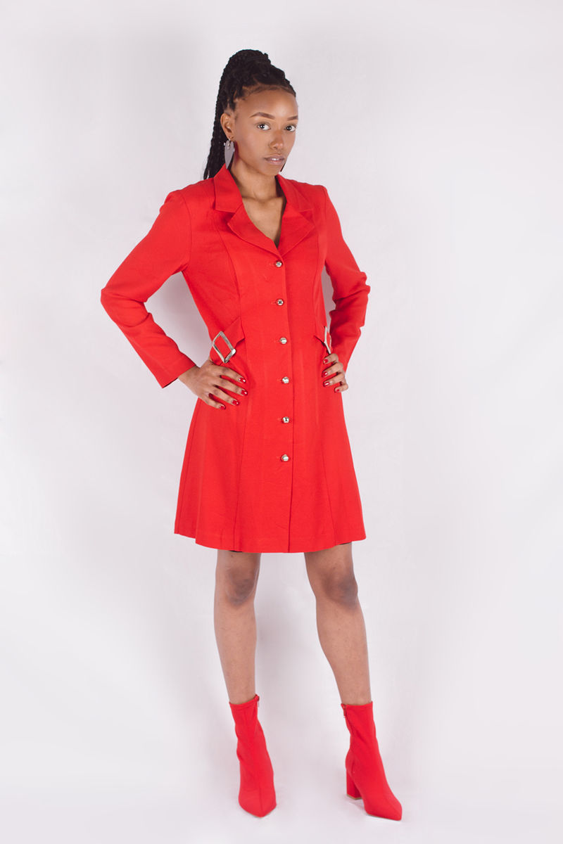 Red Faux Belt Dress - product image