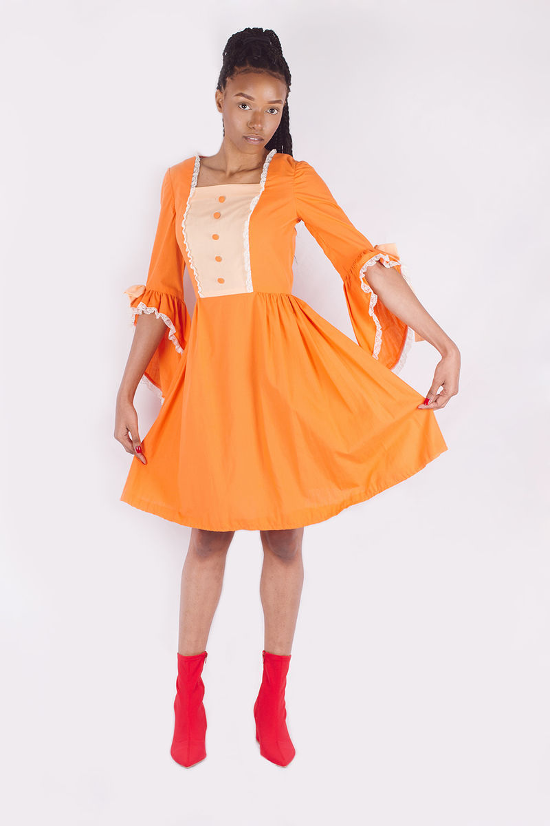 Orange Bell Sleeved Hippie Dress - product image
