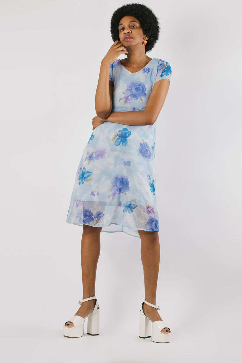 Blue Floral Short Sleeve Dress - product image