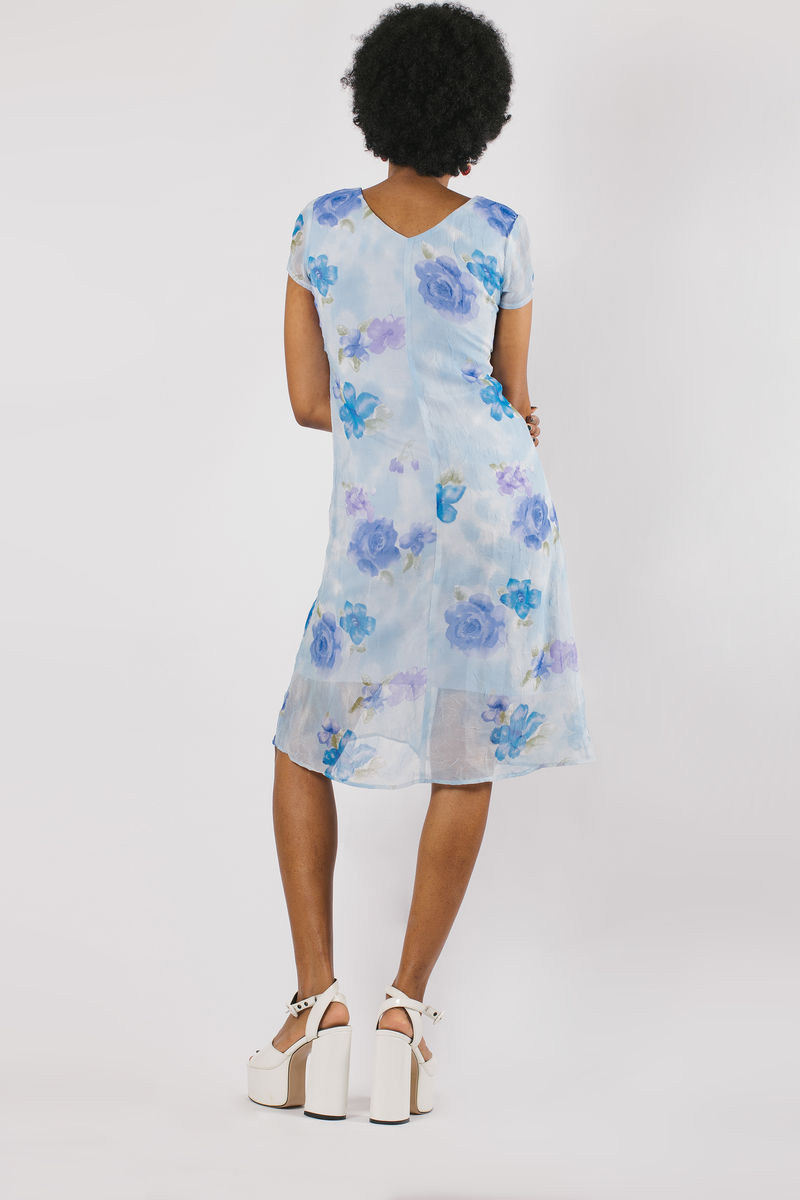 Blue Floral Short Sleeve Dress - product images  of
