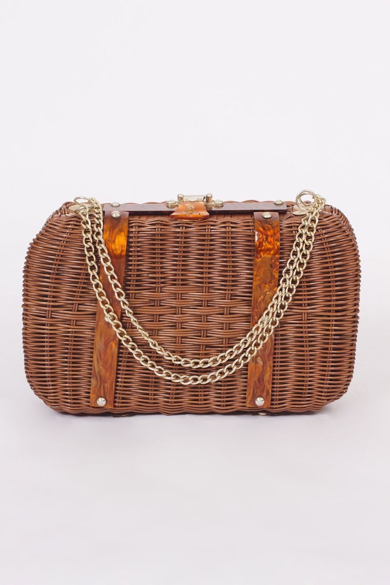 80's Brown Basket Purse - product image