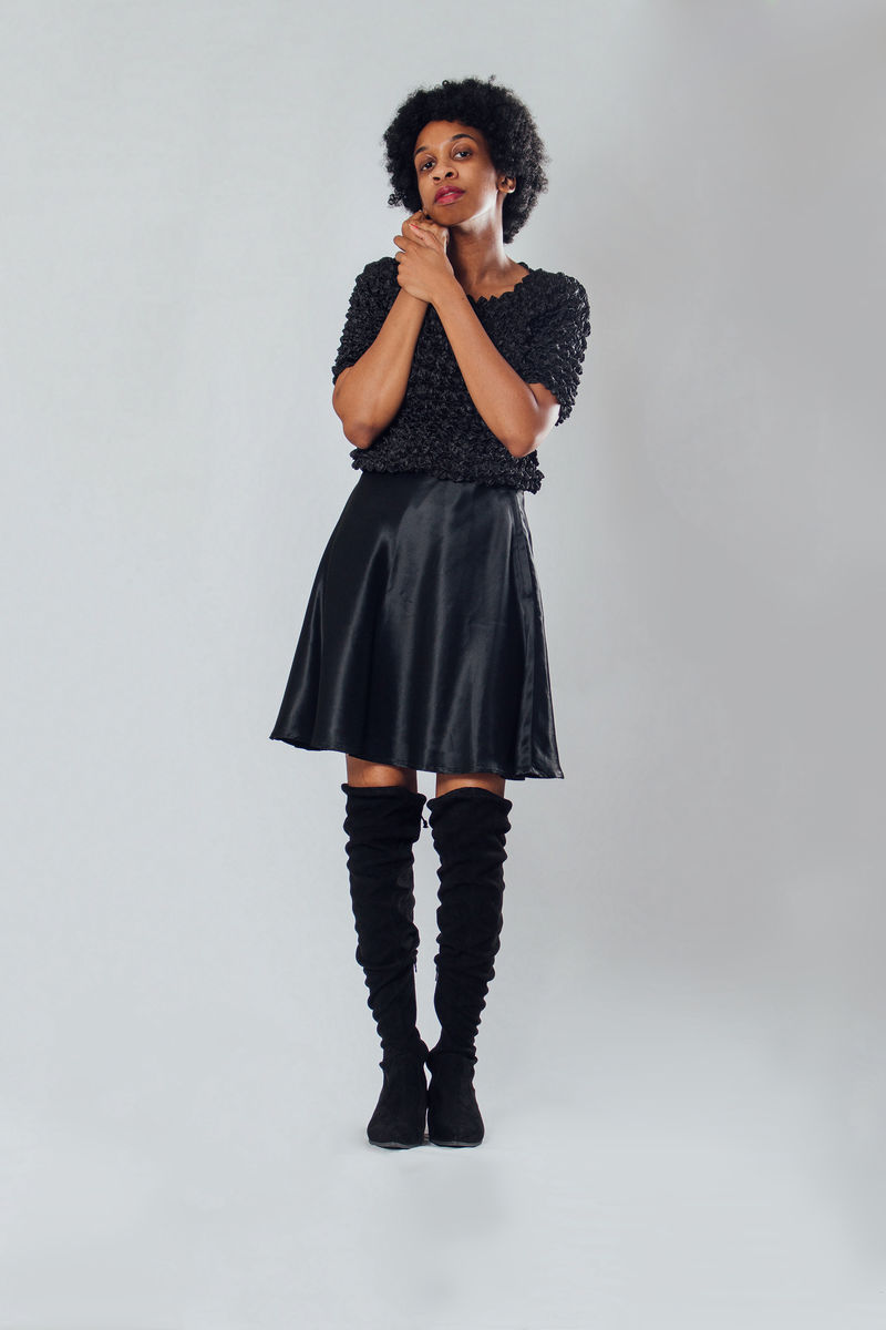 Y2K Black Satin Skirt - product images  of
