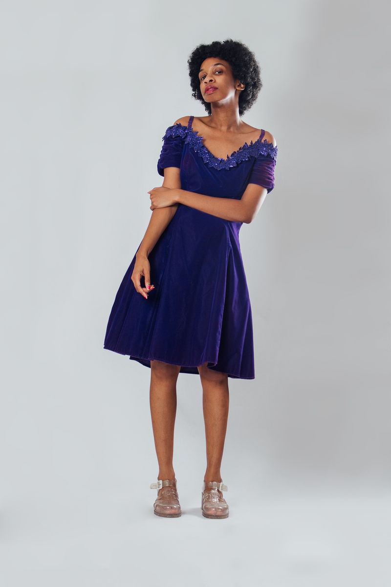 Y2K Purple Velvet Dress - product image