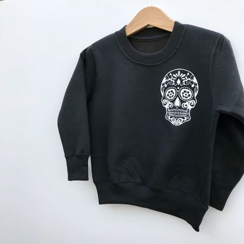 'Sugar,Skull',Pocket,Print,Kids,Sweatshirt,(various,sizes),cool kids sweatshirt, funny kids sweater, pocket print sweater, pocket print jumper, sugar skull jumper, sugar skull sweater, skull sweatshirt, popular kids clothes, wild child, trendy kids jumper, funny baby top, baby clothes, kids clothes, cool toddler
