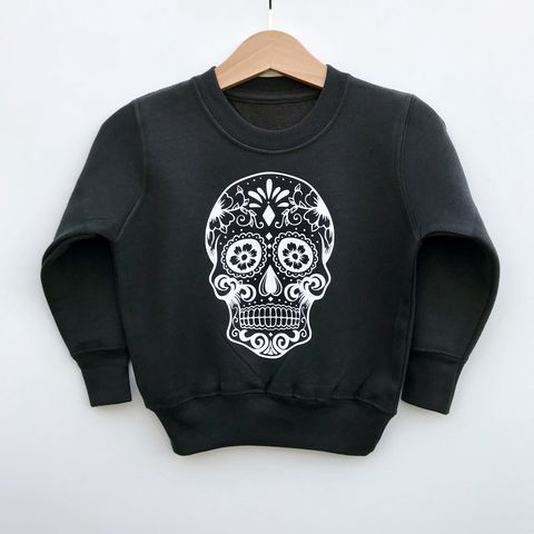 'Sugar,Skull',Kids,Sweatshirt,(various,colours/sizes),sugar skull kids sweatshirt, skull sweater, trendy kids sweater, baby jumper, kids skull top, candy skull clothes, sugar skull jumper, day of the dead, baby clothes, kids clothes, cool toddler clothes, cool kid clothes, candy skull sweatshirt