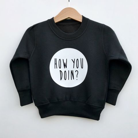 How,You,Doin,Sweatshirt,how you doin kids sweatshirt, friends tv show sweater, trendy kids sweater, baby jumper, friends top, baby clothes, kids clothes, cool toddler clothes, cool kid clothes, joey sweatshirt