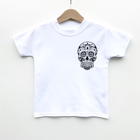 Sugar,Skull,Pocket,Print,Black,or,White,T-Shirt,skull kids tshirt, skull baby tee, skull t-shirt, uk baby t-shirts, cool baby tees, cotton baby t-shirt, funny baby tee, cute baby clothes, funny baby clothes, unique baby gifts, baby shower, baby shower gift, cool kids shirt, baby clothes