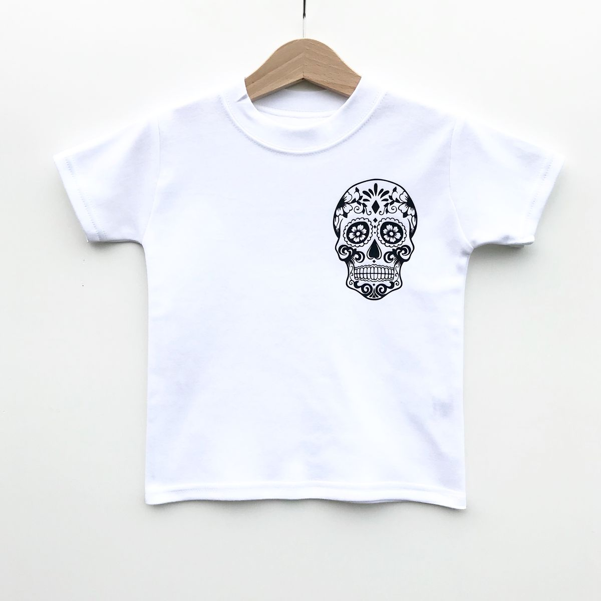 Sugar Skull Pocket Print Black & White Kids T-Shirts (various sizes) - product images  of