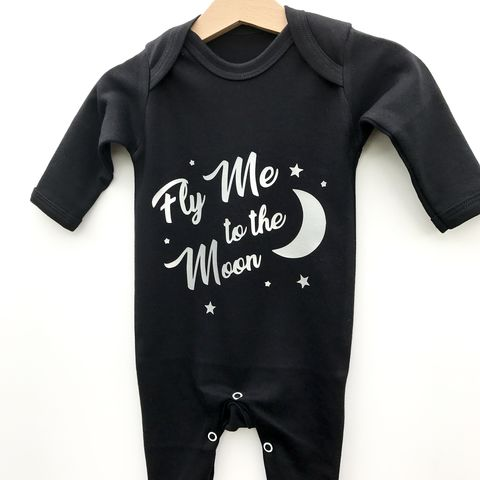 Fly,Me,To,The,Moon,Black,or,White,Baby,Romper,moon romper, stars romper, baby romper suit, cute romper, baby sleepsuit, fly me to the moon, kids sleepsuit, fly me to the moon romper, baby gift, baby shower, baby sleep suit, baby outfit, night baby outfit, newborn gift, pyjamas