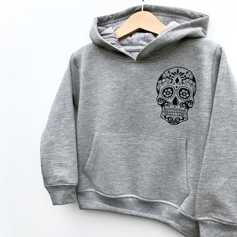 Sugar,Skull,Pocket,Print,Kids,Hoodie,(Various,Sizes),sugar skull hoodie, kids sugar skull, baby sugar skull, sugar skull, candy skull, skull clothes, skull hoodie, skull tattoo clothes, day of the dead, kids hoodie, children's hoodie, baby hoodie, baby pullover, toddler hoodie, junior hoodie, infant hoodie