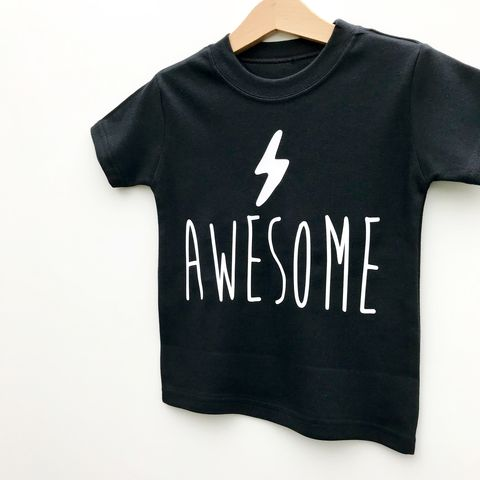 'Awesome',Black,or,White,T-Shirt,lightning tshirt, lightning bolt shirt, awesome kids tshirt, awesome baby tee, awesome t-shirt, uk baby t-shirts, cute baby tees, cotton baby t-shirt, funny baby tee, cute baby clothes, funny kid clothes, unique baby gifts, baby shower, baby gift