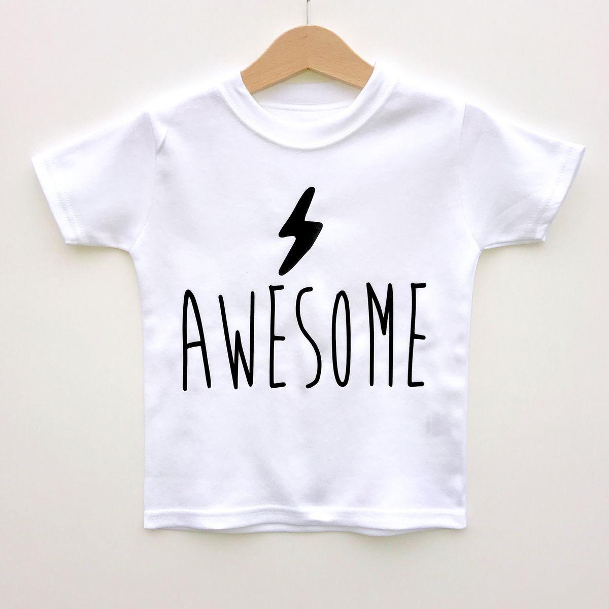 'Awesome' Lightning Bolt Black & White Kids T-Shirts (various sizes) - product images  of