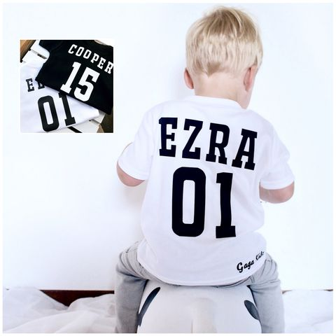 Personalised,Sports,Name/Number,Black,&,White,Kids,TShirts,(various,sizes),sport number baby tee, kids name and number t-shirt, children's football tees, sports kids top, personalised baby name number t-shirt, cotton baby t-shirt, funny baby tee, cute baby clothes, funny baby clothes, unique baby gifts, toddler tees, toddler tsh