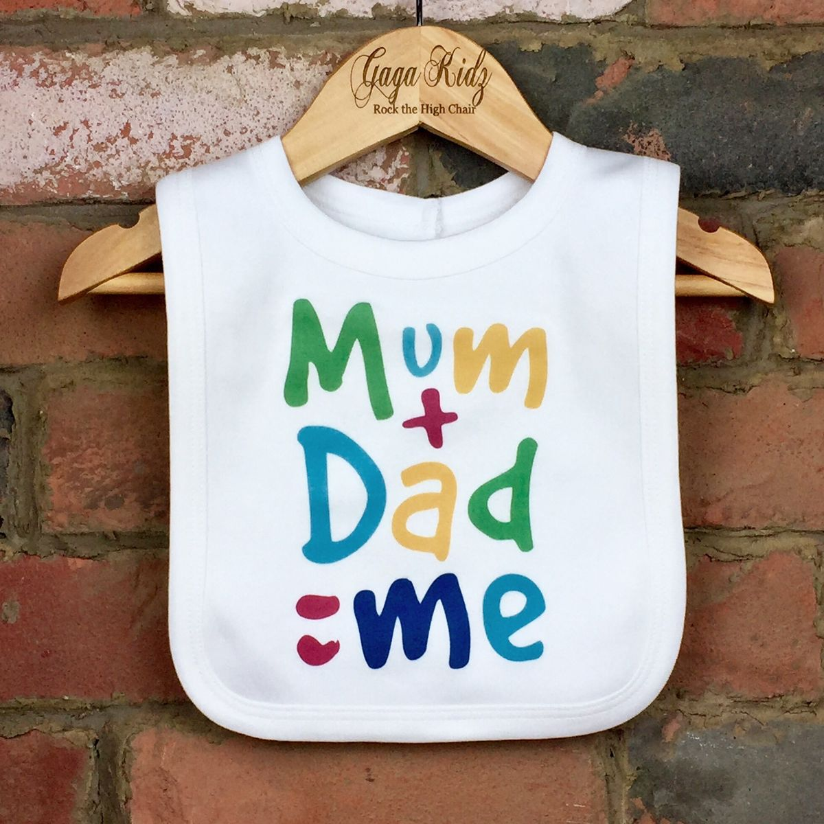Mum Plus Dad Equals Me Baby Bib - product images  of
