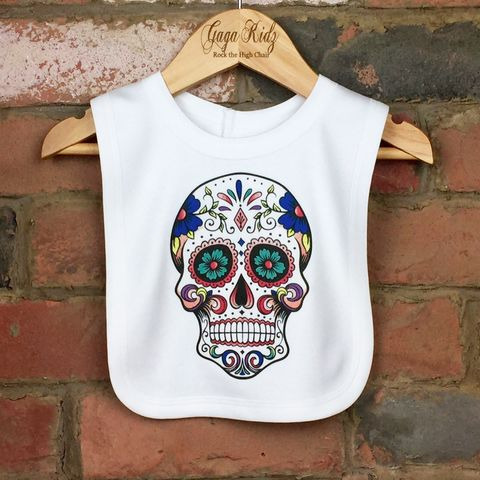 Sugar,Skull,Baby,Bib,sugar skull velcro baby bib, candy skull bib, day of the dead baby bib, cotton baby bib, funny baby bib, cute baby clothes, unique baby bib, unique baby clothes, funny baby clothes, unique baby gifts, baby shower, cool baby bib, cool baby clothes